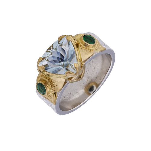 Aquamarine 2.65 Carat Tsavorite 0.15 Carat & 22kt Yellow Gold & Silver Ring