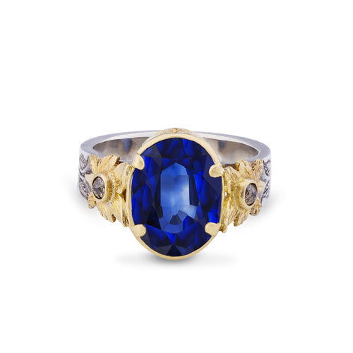 Kyanite 6.5ct Diamond 22kt Yellow Gold & Silver Ring