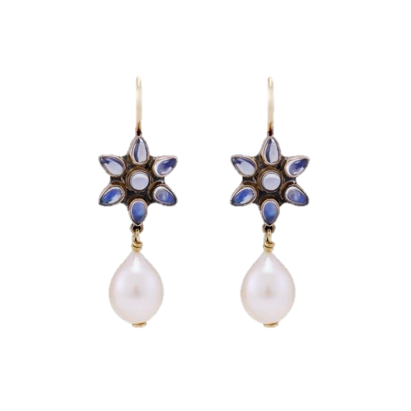 Rainbow Moonstone & Pearl Earrings