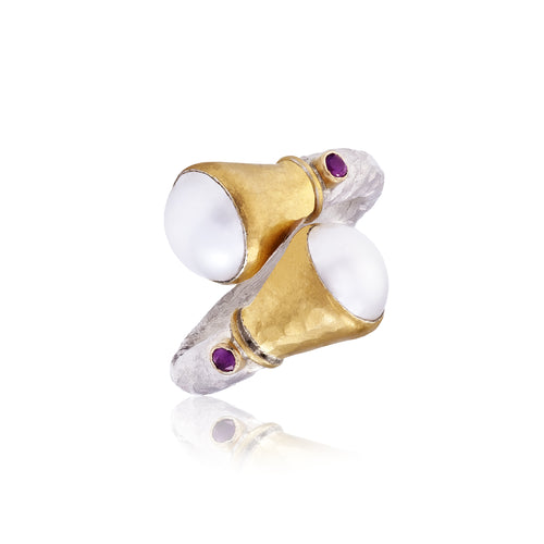 Pearl & Ruby Gold & Silver Ring