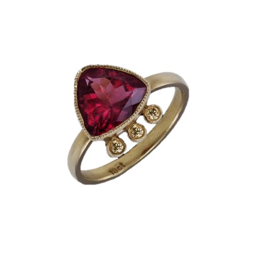 Rubellite 2,94 Carat & Diamond 0.07 Carat 18kt Gold Ring