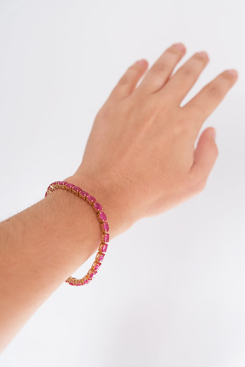Ruby 16 Carat & 18kt Yellow Gold Bracelet