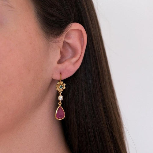 Emerald, Ruby & Diamond Earrings