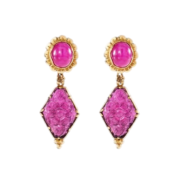 Ruby & Rubellite Tourmaline Earrings