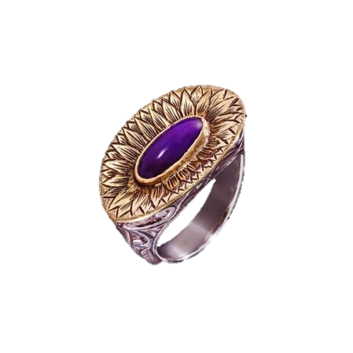 Sugilite Gold & Silver Petal Dress Ring