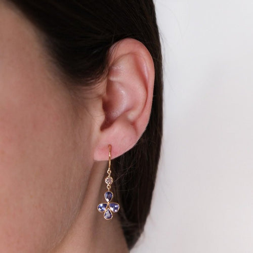 Tanzanite & Diamond Flower  Earrings