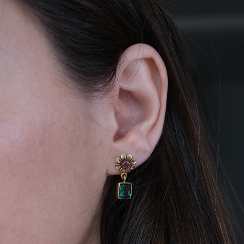Green Tourmaline & Ruby Earrings