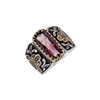 Tourmaline Hamsa Gold & Silver Ring