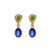 Tsavorite & Kyanite 22kt Yellow Gold Earrings