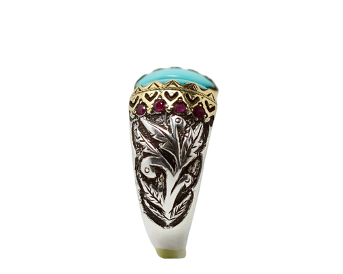 Turquoise Ruby Silver & Gold Ring