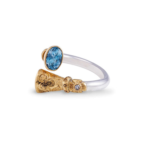 Aquamarine 1.50ct Gold & Silver Dress Ring