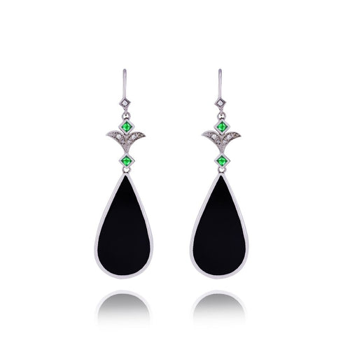 Onyx Emerald & Diamond Earrings