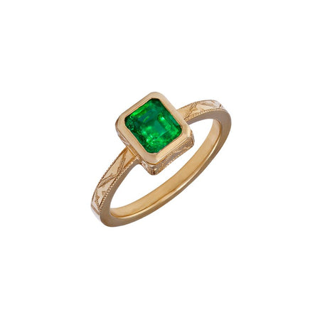 Emerald 0.42ct & Diamond 0.12ct 9kt White Gold Ring