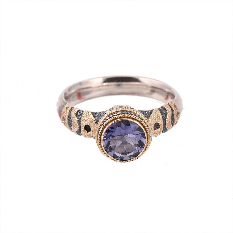 Iolite & Diamond Silver & Gold Ring