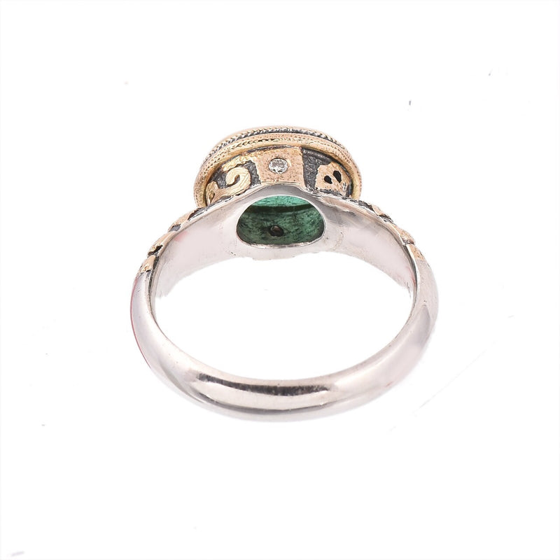 Emerald & Diamond Silver & Gold Ring