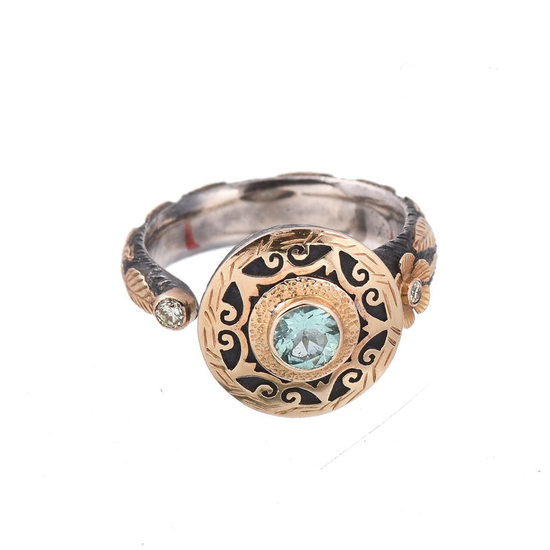 Tourmaline & Diamond Silver & Gold Ring