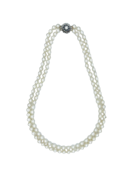 Pearl Necklace with Sapphire Clasp
