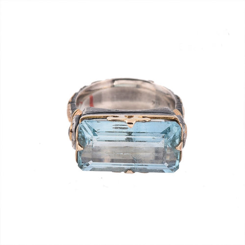 Aquamarine & Diamond Silver & Gold Ring