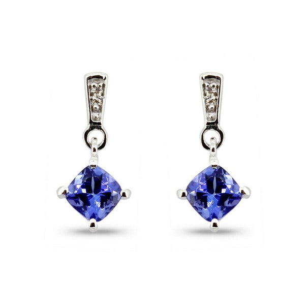 Tanzanite &Diamond 9kt White Gold Earrings