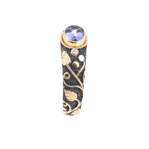Tanzanite & Diamond Silver & Gold Ring