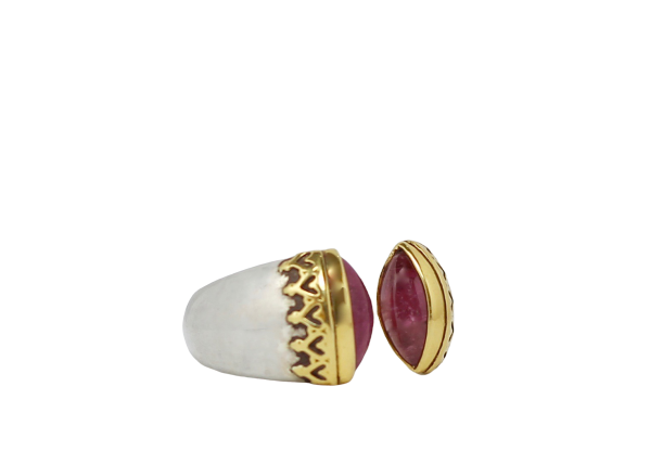 Pink Tourmaline Silver Gold Split Ring