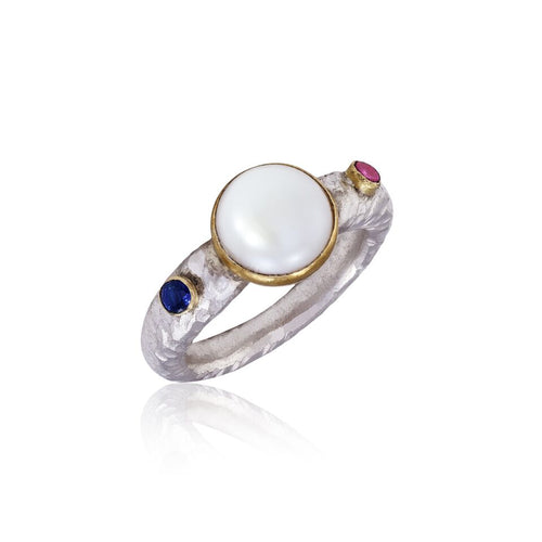 Pearl Ruby & Sapphire 24kt Gold & Silver Ring