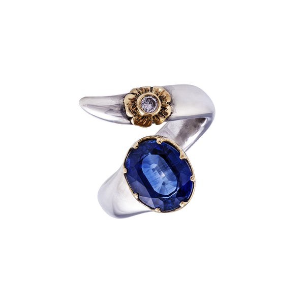 Kyanite Wrap flower  Gold & Silver Ring