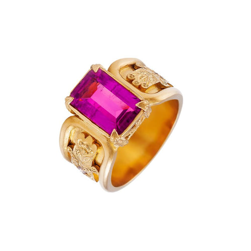 Rubellite 3.40 Carat & 22kt Yellow Gold Dress Ring