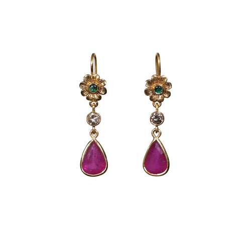 Ruby 8.20ct Emerald & Diamond 0.30ct 22kt Gold Earrings