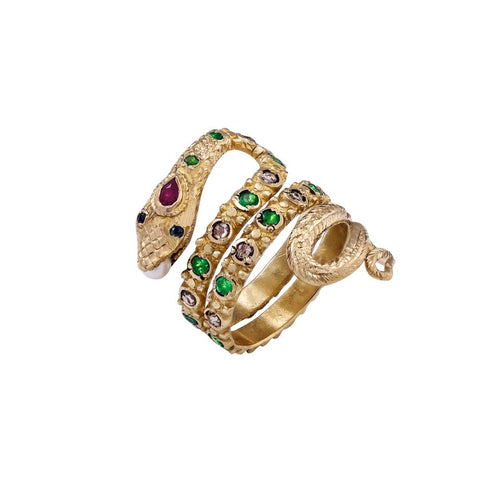 Emerald & Ruby Snake Ring