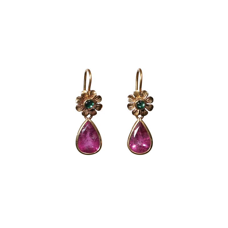 Tourmaline & Emerald Earrings