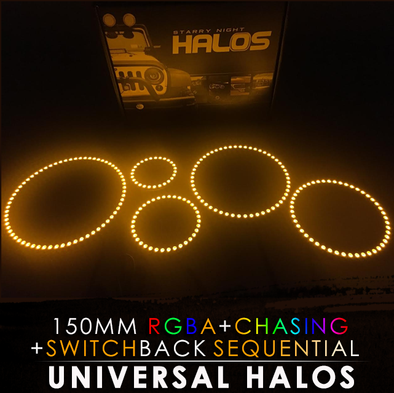 150MM Black PCB RGBA Switchback Sequential Starry Night Halos