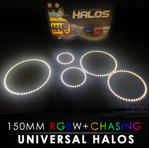 150MM Black PCB RGBW + Chasing Starry Night Halos (Pair)