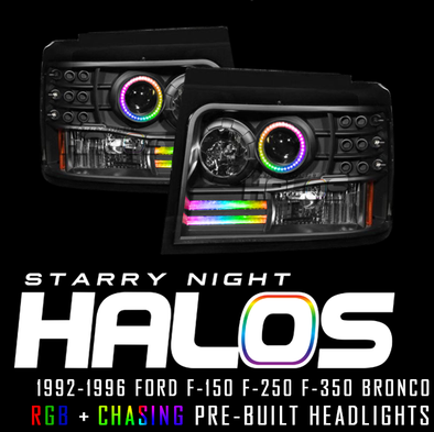 1992-1996 Ford F-150 F-250 F-350 Bronco Starry Night Halos RGB+Chasing Pre-Built Headlights