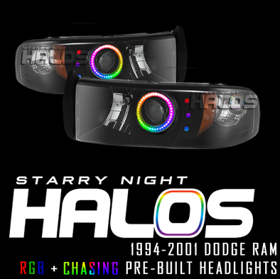 1994-2001 Dodge Ram Starry Night Halos RGB+Chasing Pre-Built Headlights