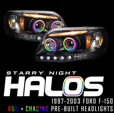 1997-2003 Ford F-150 Starry Night Halos RGB+Chasing Pre-Built Headlights