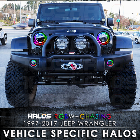 1997-2017 Jeep Wrangler RGBW + Chasing Starry Night Halo Kit (Pair)