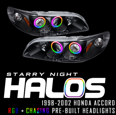 1998-2002 Honda Accord Starry Night Halos RGB+Chasing Pre-Built Headlights