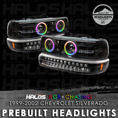 1999-2002 Chevrolet Silverado Starry Night Halos RGB+Chasing Pre-Built Headlights