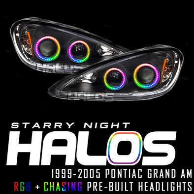 1999-2005 Pontiac Grand Am RGB+Chasing Pre-Built Headlights Coupe Starry Night Halos RGB+Chasing Pre-Built Headlights