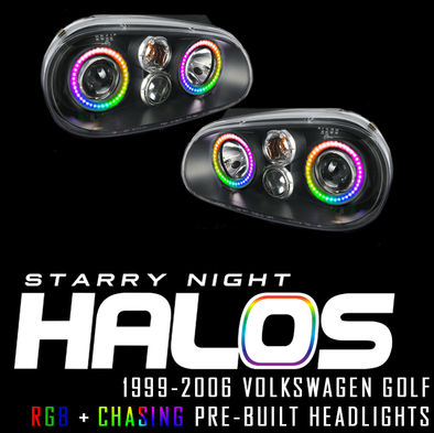 1999-2006 Volkswagen Golf Starry Night Halos RGB+Chasing Pre-Built Headlights