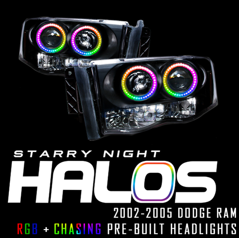 2002-2005 Dodge Ram Starry Night Halos RGB+Chasing Pre-Built Headlights