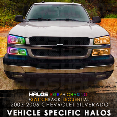 2003-2006 Chevrolet Silverado Cateye RGB Chasing Switchback Sequential Starry Night Halo