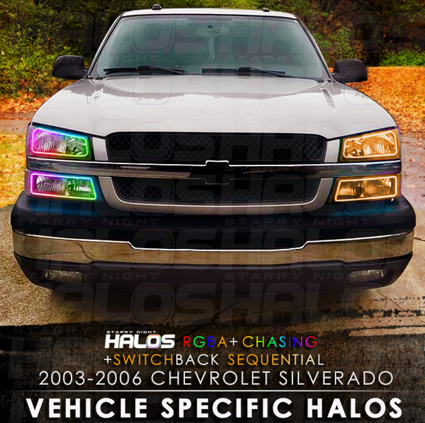 2003-2006 Chevrolet Silverado CatEye RGBA + Chasing + Switchback Sequential Starry Night Halo Kit (4 Halos)