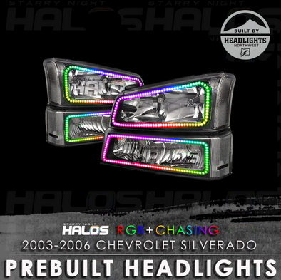 2003-2006 Chevrolet Silverado Starry Night Halos Chasing Prebuilt Headlights