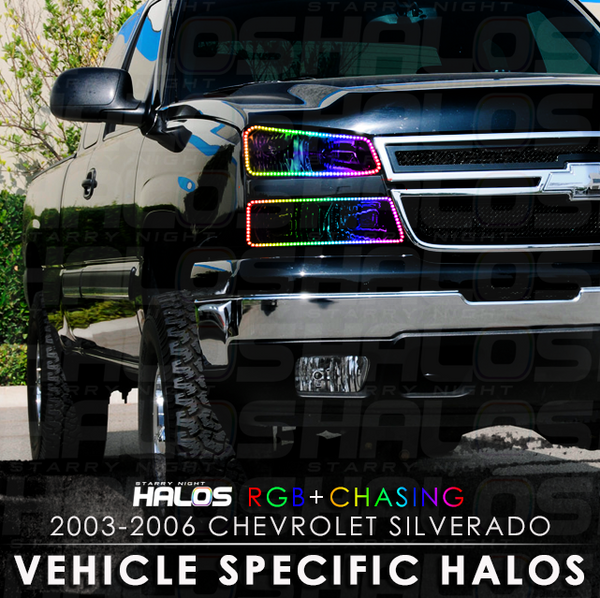 2003-2006 Chevrolet Silverado CatEye RGB + Chasing Starry Night Halo Kit (4 Halos)