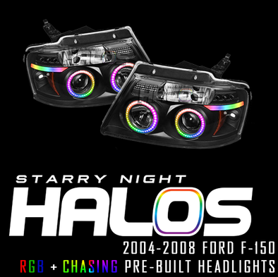 2004-2008 Ford F-150 Starry Night Halos RGB+Chasing Pre-Built Headlights