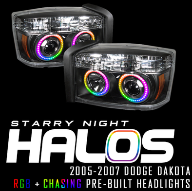 2005-2007 Dodge Dakota RGB+Chasing Pre-Built Headlights Coupe Starry Night Halos RGB+Chasing Pre-Built Headlights