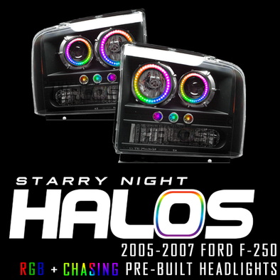 2005-2007 Ford F-250 Starry Night Halos RGB+Chasing Pre-Built Headlights
