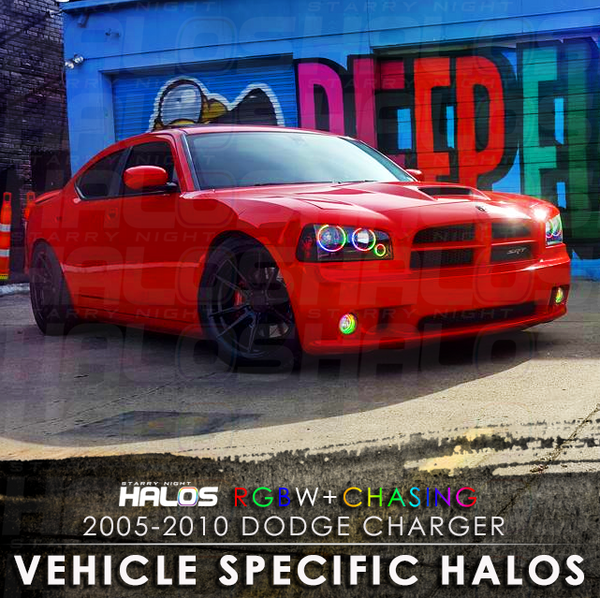 2005-2010 Dodge Charger RGBW + Chasing Starry Night Halo Kit (4 Halos)